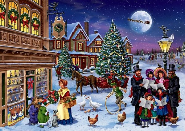 old fashioned christmas town wallpaper - photo #6